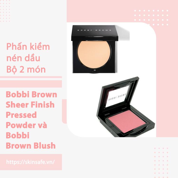 Bộ 2 món: Phấn phủ dạng nén Bobbi Brown Sheer Finish Pressed Powder, Phấn má hồng Bobbi Brown Blush